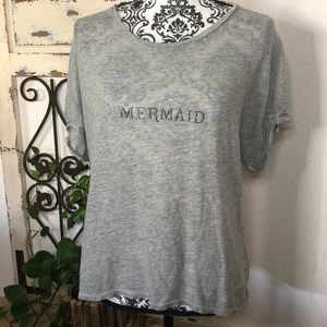 Wildfox mermaid gray burnout tee shirt